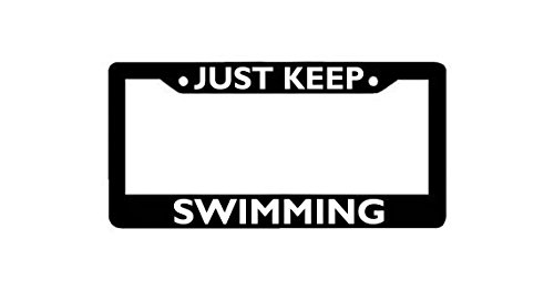 Personalized Just Keep Swimming License Plate Frame, Funny License Plates, Auto License Plate Holder, Car accessories.