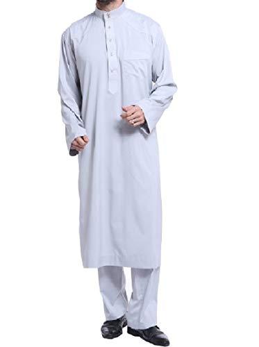 Fieer Mens Up Arabian Sultan Desert Prince Arab Sheik Loose Costume Outfit Grey L