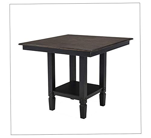 Wood & Style Furniture Glenwood Gathering Height Table, Rubbed Black Charcoal Home Office Commerial Heavy Duty Strong Décor