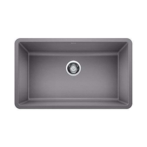 Blanco 442536 Granite Kitchen Sink Precis 18-In X 30-In, Single Bowl, Metallic Gray