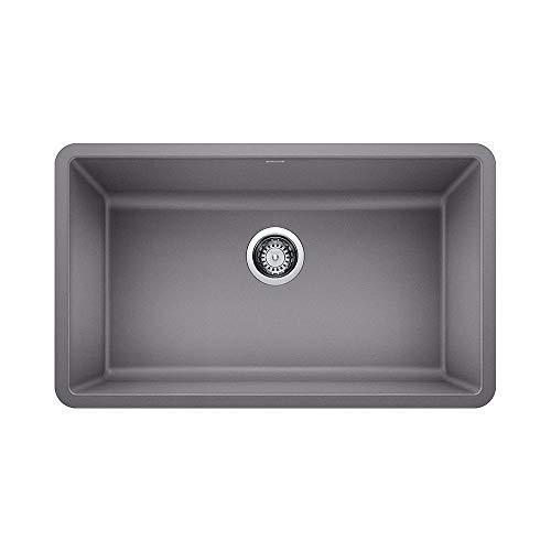 Bowl Undermount Sink Single Blanco - Blanco 442536 Granite Kitchen Sink Precis 18-In X 30-In, Single Bowl, Metallic Gray