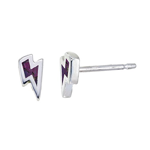 Boma Jewelry Sterling Silver Purple Turquoise Lightning Bolt Stud Earrings