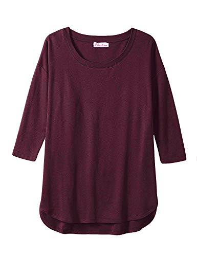 (Women's Oversized Round Neck Batwing Sleeves T Shirts Tunic Top (Wine Red, Large))