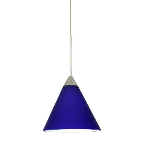 Besa Lighting 1XC-5121CM-LED-SN 1X6W Led Lightsource Kani Pendant with Cobalt Blue Matte Glass, Satin Nickel (Blue Matte Sconce)