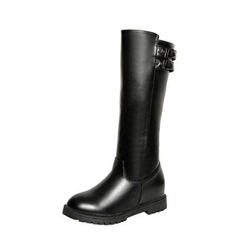 Elevin (tm) 2018nieuwe Dames Winter Dij Hoge Laarzen Over De Knie Boot Verhoogd Platte Hakken Schoenen Zwart