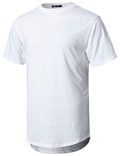 GIVON Mens Lightweight Hipster Hip Hop Elong Round Hemline Tri-Blend Rayon Modal Cotton Crewneck T-Shirt/DCT070-WHITE-2XL