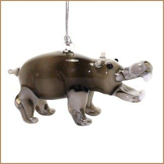 Dynasty Gallery Glassdelights Hippopotamus Glass Christmas Tree Ornament Hippo Animal Decoration (Ornament Hippo)