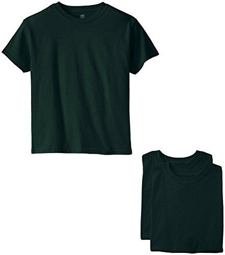 Hanes Big Boys' Short Sleeve Comfort Soft Tee Pack of 3, Deep Forest, Small