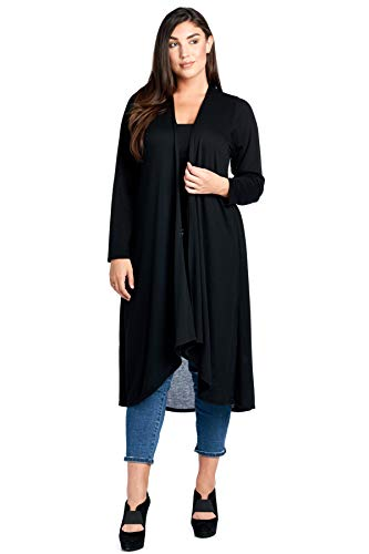 12 Ami Basic Knit Solid Long Sleeve Maxi Cardigan (S-3X) - Made in USA