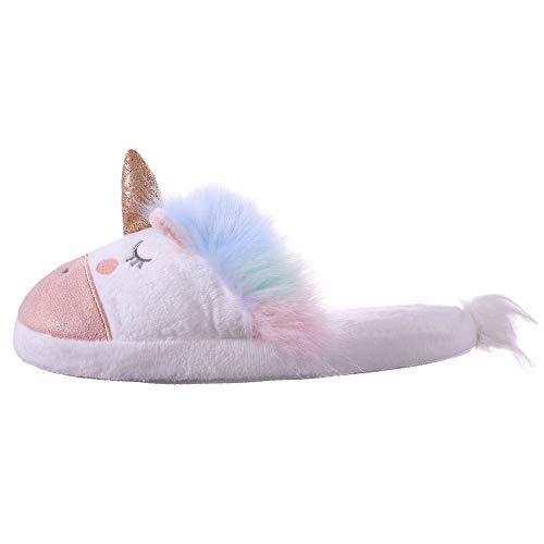 ce501724ca98 RONGBLUE Womens Girls Cute Unicorn Animal Slippers Fleece Plush Warm Indoor  House Bedroom Winter Shoes Pink