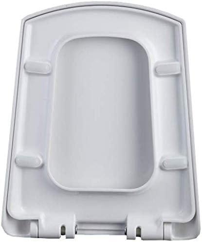 S-graceful便座、厚くソフトクローズリリースヒンジ抗菌トップマウント台形便座、ホワイト44〜49 * 38 cmの超耐性WCシート