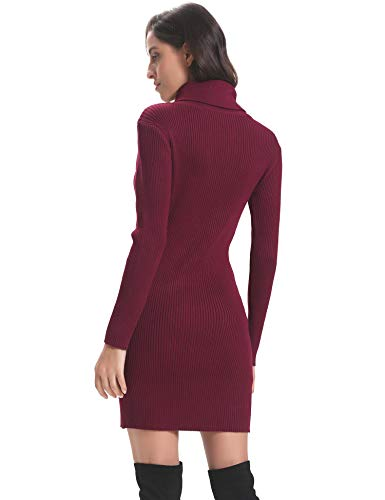 Long Women Dress Sleeve Knit Turtleneck Wine Elasticity Red Bodycon Sweater Stretchable Abollria xpnwz5dqx