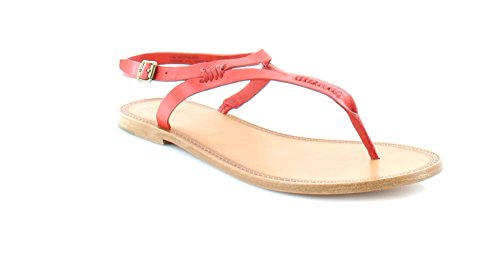 Frye Leather Thongs - FRYE Women's Ruth Whipstitch Flat Sandal, Red, 7.5 M US