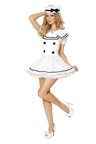 Sexy Business Woman Costumes (Roma Costume Women's 2 piece Sexy Sailor Maiden, White, Small/Medium)