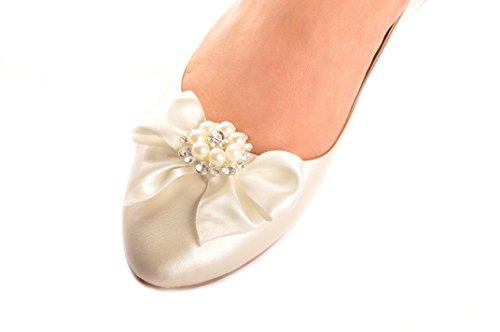 Ivory Champagne Diamante Satin Bow Wedding Flat Pumps Bridal Prom Ballerina JpwOhkCO2