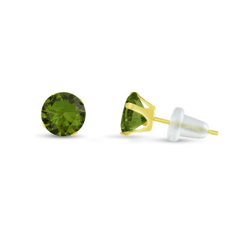 Yellow Gold Olive (Round 5mm 10k Yellow Gold Olive Green CZ Stud Earrings, August Birthstone, (1.58)