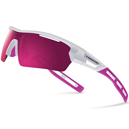 (Torege Polarized Sports Sunglasses for Men Women Cycling Running Driving TR033 (WhiteΠnk TipsΠnk Lens))