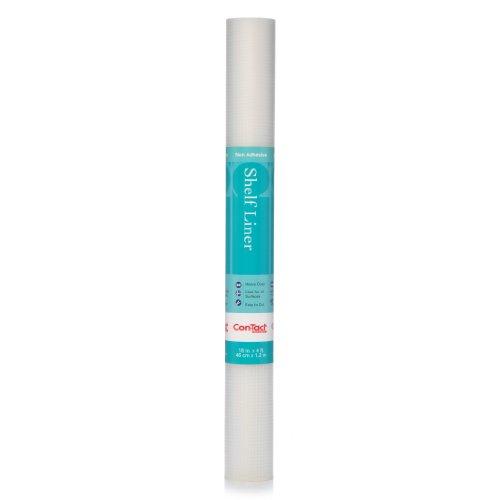 Con-Tact 04F-C5T55-06AZ Premium Non-Adhesive Shelf Liner, 18 x 4, Woven Clear