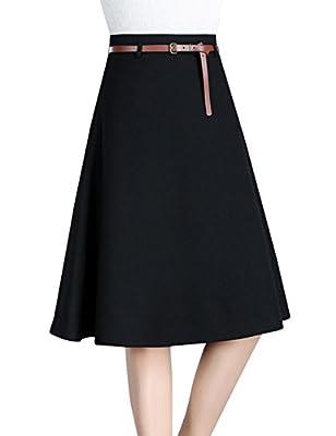 Tanming Women's High Waist A-Line Wool Blend Midi Skirt