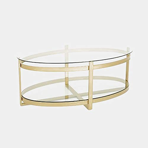 - Metal Coffee Table with Glass Top - Oval Coffee Table with 1 Shelf - Brass