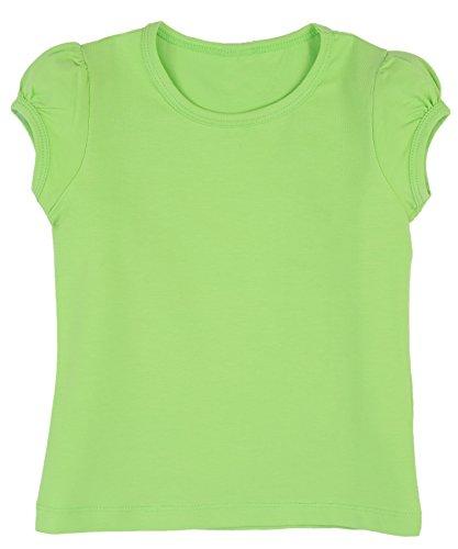 Lovetti Girls' Basic Short Puff Sleeve Round Neck T-Shirt 6 Apple Green (Girls Halloween Shirts)
