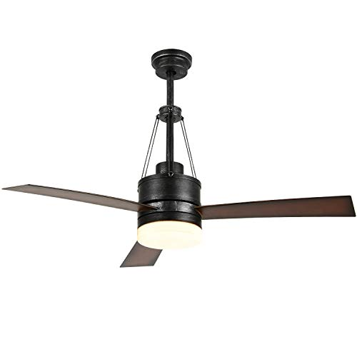 312 Ultra Flush - Luxurefan Industrial Led Ceiling Fan with Remote Control with 3 Premium Wood Leaves Modern Ceiling Fan for Decoration Home Coffee Shop of 48Inch