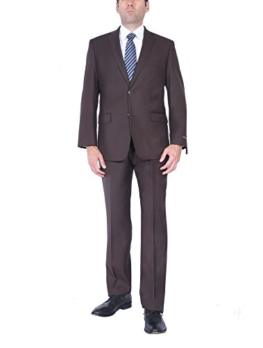 (P&L Men's Two-Piece Classic Fit Office 2 Button Suit Jacket & Pleated Pants)