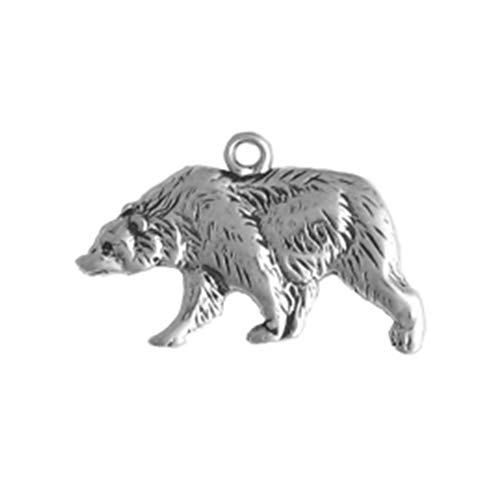 (925 Sterling Silver Native American Indian Walking Bear, Left Charm Pendant)
