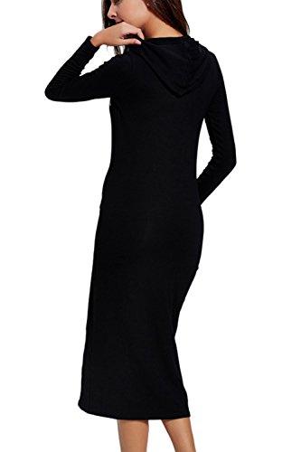 Casual manga larga carta de la mujer imprimir sudadera Maxi vestido