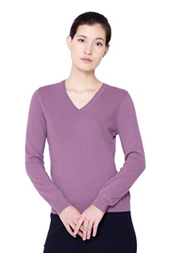 Goyo Cashmere Women's 100% Pure Cashmere Sweater – Long Sleeve V-Neck Pullover (Grape, M)