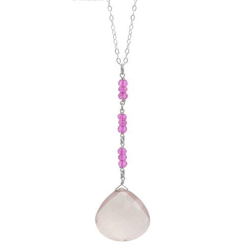ASHANTI Rose Quartz and Pink Quartz Briolette Natural Gemstone Sterling Silver Handmade 18 inch Necklace -