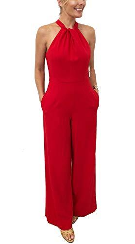 Julia Jordan Twist Front Halter Jumpsuit Red