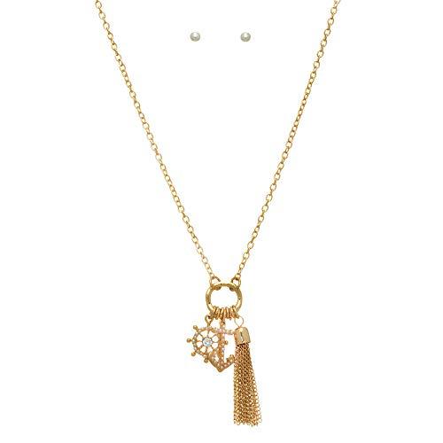 Captain039;s Wheel Anchor Beach White Bead Gold Tone Necklace Earrings Set - Earrings Id White