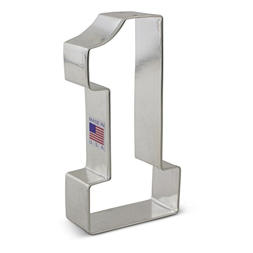 Large Number One #1 Cookie Cutter - 4.4 Inches Ann Clark - US Tin Plated Steel (Metal Number Cookie Cutters)