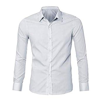 Chemise Couleur Unie Haut Homme Chemise de Soirée Chemise Slim Fit Chemise  Basic for Costume Top e7d90acb9e8