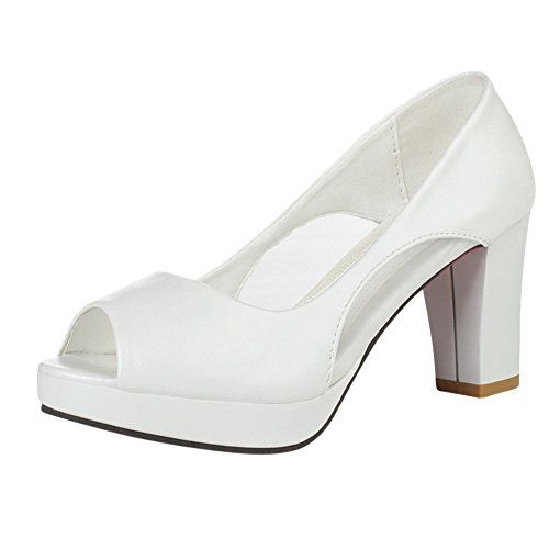Peep Elegant Heel Sexy Mesh Carolbar Platform High Court White Toe Women's Shoes TwXE5Y