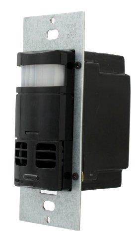 Leviton OSSMT-GDE Multi-Technology PIR/Ultrasonic Wall Switch and Occupancy Sensor, Black