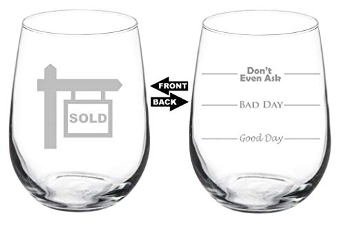 Wine Glass Goblet Two Sided Good Day Bad Day Don
