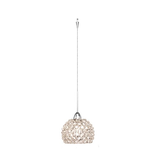 WAC Lighting QP-LED542-WD//CH Gia Quick Connect LED Pendant White Diamond Shade with Chrome Socket Set