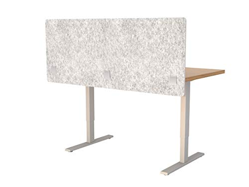 """VaRoom Acoustic Partition, Sound Absorbing Desk Divider - 60"""" W x 24""""H Privacy Desk Mounted Cubicle Panel, Iced Grey"""