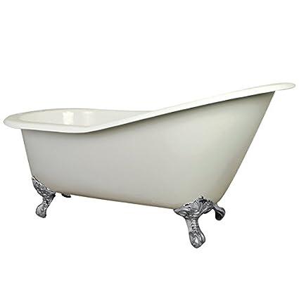 Kingston Brass Aqua Eden VCT7D653129B1 Cast Iron Safe And Anti Slide Cast  Slipper Bathtub With