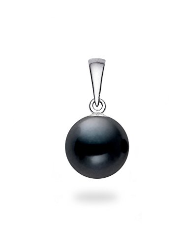 14k White Gold AAAA Quality Japanese Black Akoya Cultured Pearl Pendant (7.5-8mm) ()