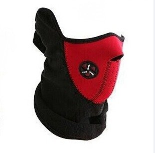 Red Motorcycle Neoprene Facemask Winter Snowboard Ski Half Face Mask Soft Cotton Fleece Neck Ear Warmer Protection Vented Fitted Velcro Adjustable Close Biker Cycling Facemask For Honda X-11 (2000 Half Mask)