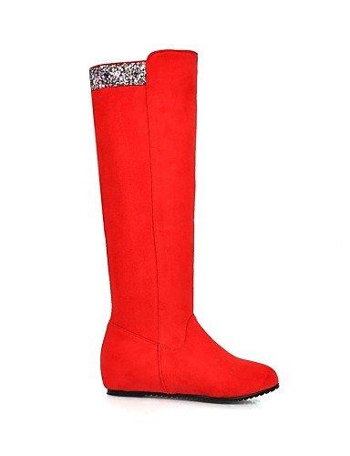Xzz Cuñas us9 Vestido Uk8 Redonda Eu42 Moda us10 Botas Mujer Vellón Eu41 Red Zapatos 5 Casual Blue 10 5 La Tacón De Cuña Rojo Cn43 Uk7 Cn42 5 8 Azul Punta A negro 5 rqB7rXwFx