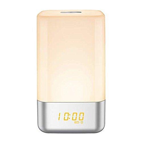 Mingpong despierta la luz reloj despertador, cama lámpara de ...