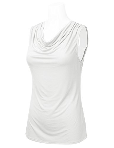 FLORIA Womens Cowl-Neck Ruched Draped Sleeveless Stretchy Blouse Tank Top Ivory M by FLORIA (Image #1)
