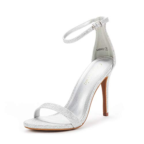 Silver Strappy Shoe - DREAM PAIRS Women's Karrie Silver Glitter High Stiletto Pump Heel Sandals Size 8.5 B(M) US