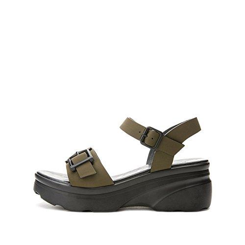 a tacco DHG tacco casual basso donna alla alti estivi basso da verde Sandali Sandali Tacchi con piatti moda Sandali 37 Pantofole 6wZq6r
