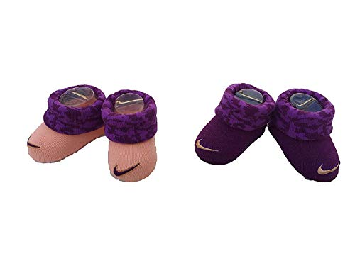 (Nike Infant Baby Futura Booties (2 Pair) (Purple (INK4982-2928) / Camo/Peach, 0-6 Months))