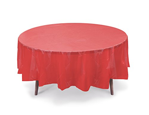 """5 PACK, 84"""" Red Round Plastic Table Cover, Plastic Table Cloth Reusable (PEVA) (Red)"""